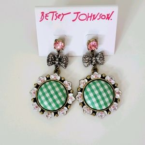 BJ Green Patterned Earrings with White Flowers